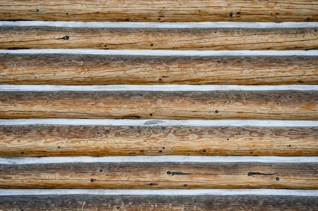 Bûche de bois dur empilée avec de la neige dans la rainure. motif de fond