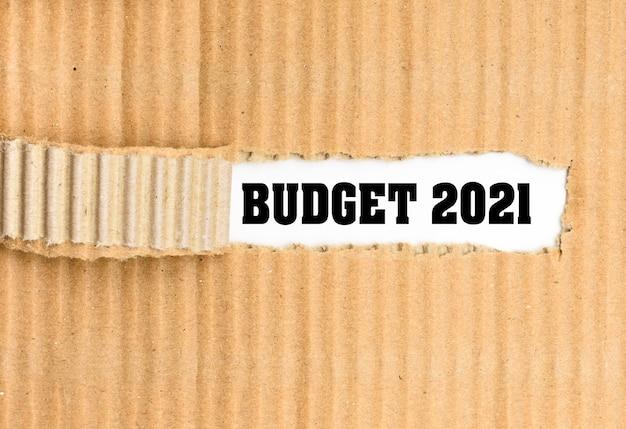 Budget économique pour 2021, papier blanc carton ondulé déchiré.