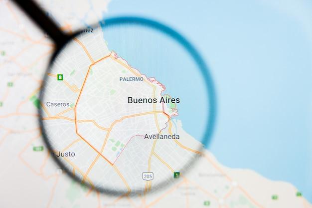 Buenos aires, argentine, illustration de la visualisation de la ville sur l'écran d'affichage à travers la loupe