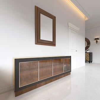 Buffet bas avec une façade en verre avec une photo au-dessus, pour la salle à manger. rendu 3d