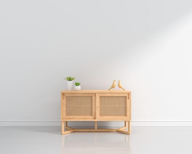 Buffet en bois dans un salon blanc avec espace copie