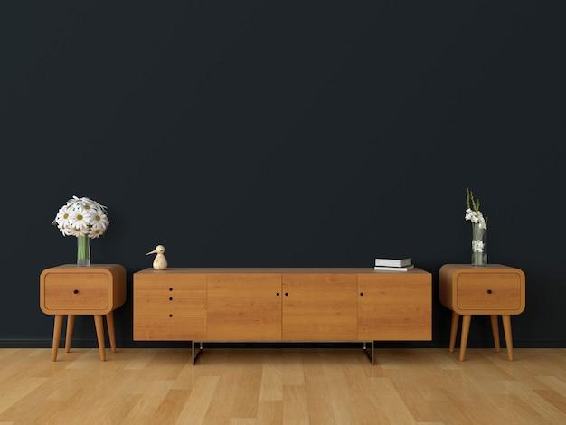 Buffet en bois dans le salon noir pour maquette
