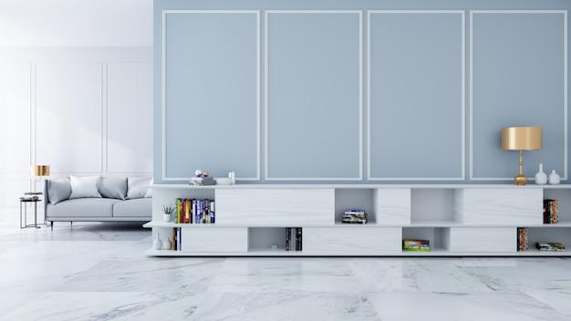 Buffet télé avec lampe dorée sur un mur gris clair et sol en marbre