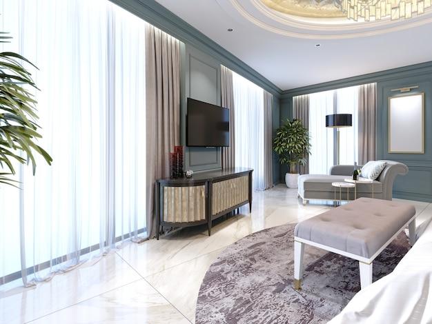 Buffet avec une télévision contre le mur dans un style classique moderne. rendu 3d