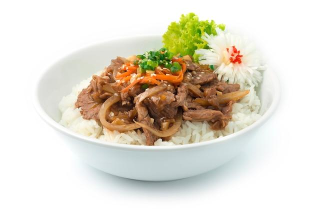 Bulgogi sauté de boeuf aux oignons servi riz