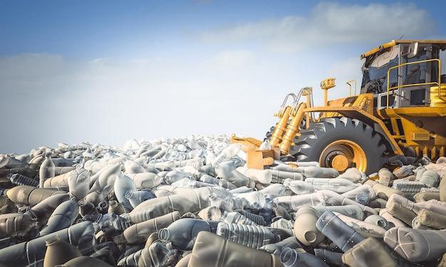 Le bulldozer déplace des montagnes de bouteilles en plastique. concept de catastrophe écologique et de matériaux recyclables.
