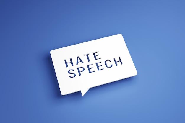 Bulle blanche avec texte discours de haine sur fond bleu.