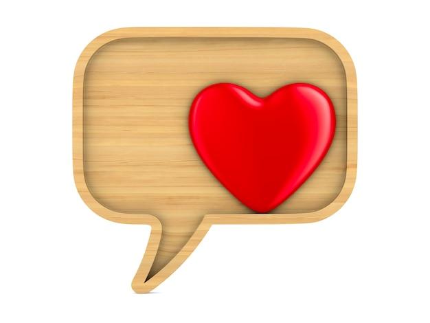 Bulle en bois parler et coeur sur espace blanc. illustration 3d isolée