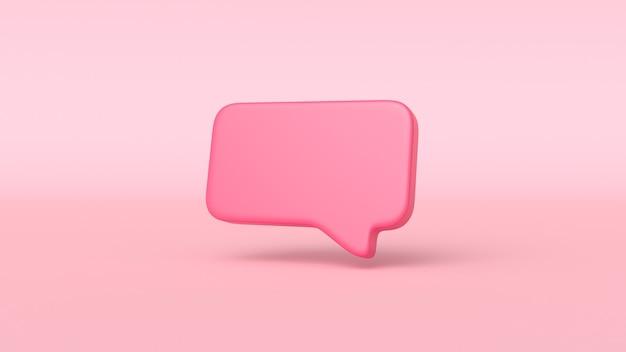 Bulle de chat rouge minime 3d sur fond rose. concept de message de médias sociaux. illustration de rendu 3d.