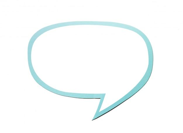 Bulle de dialogue comme un nuage avec bordure bleue isolé sur fond blanc. espace de copie