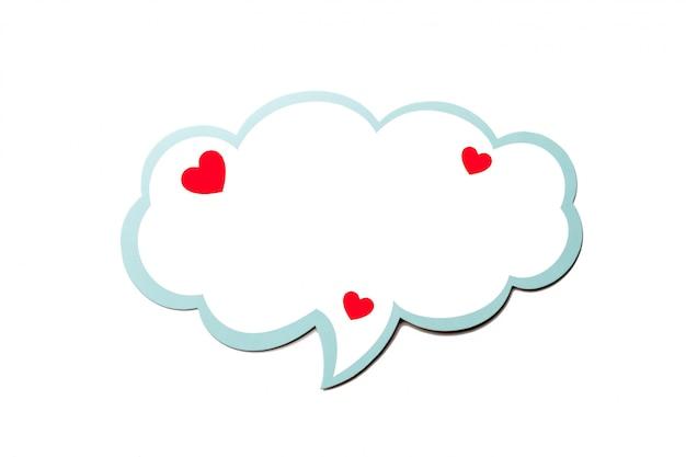 Bulle de dialogue comme un nuage avec bordure bleue isolé sur fond blanc. espace copie