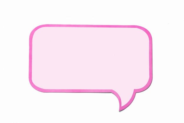 Bulle de dialogue comme un nuage avec une bordure rose isolée on white