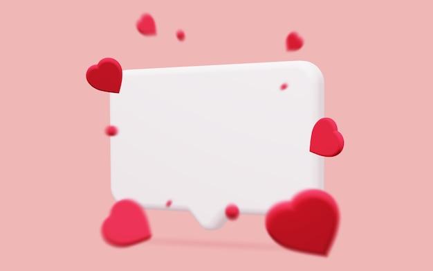 Bulle de dialogue conversationnelle 3d avec des coeurs rouges flous sur fond rose
