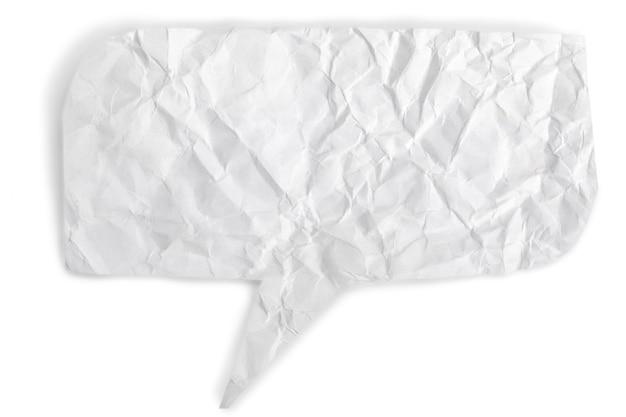 Bulle de dialogue papier froissé sur blanc
