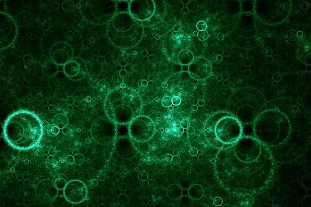 Bulles électriques vertes. fractale abstraite. isolé sur fond noir