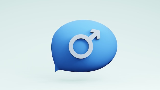 Bulles de pensée ballon avec sex-symbol conception infographique rendu 3d