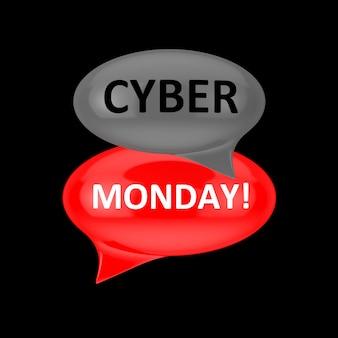 Bulles rouges et grises avec cyber monday sign sur fond noir. rendu 3d
