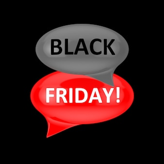 Bulles rouges et grises avec signe du vendredi noir sur fond noir. rendu 3d