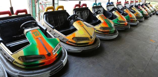 Bumper cars in amusement