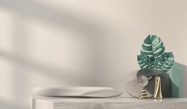 Bureau abstrait et plantes pour l'affichage de produits publicitaires
