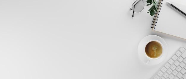 Bureau blanc avec papeterie et fournitures de tasse de café de rythme de copie rendu 3d illustration 3d