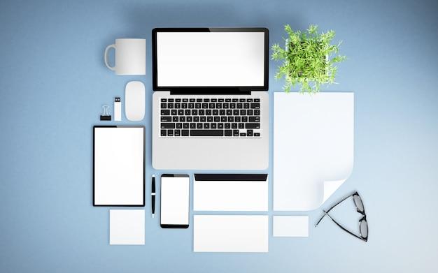 Bureau bleu avec matériel de bureau