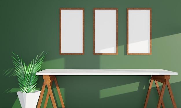 Bureau et cadre photo. espace de travail, rendu 3d