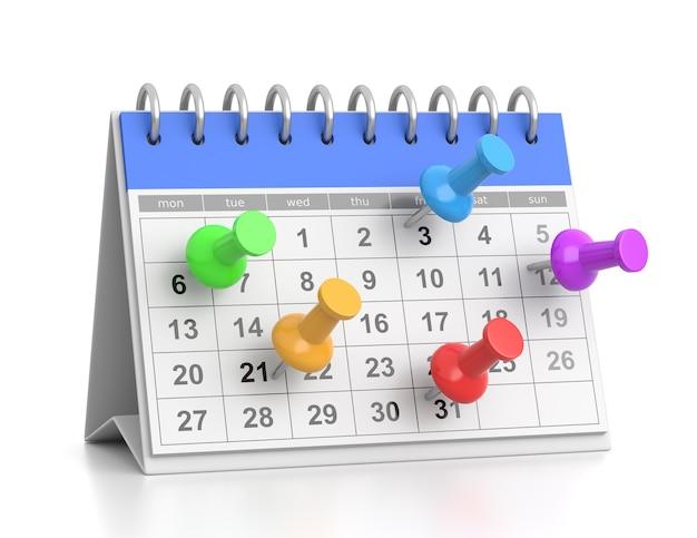 Bureau calendrier engagements date concept illustration 3d