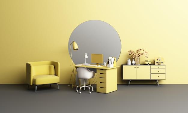 Bureau et chaise de travail bureau avec concept de mobilier végétal et vivant à domicile avec hublot de fenêtre