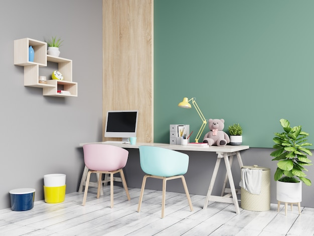 Bureau couleur vert et gris