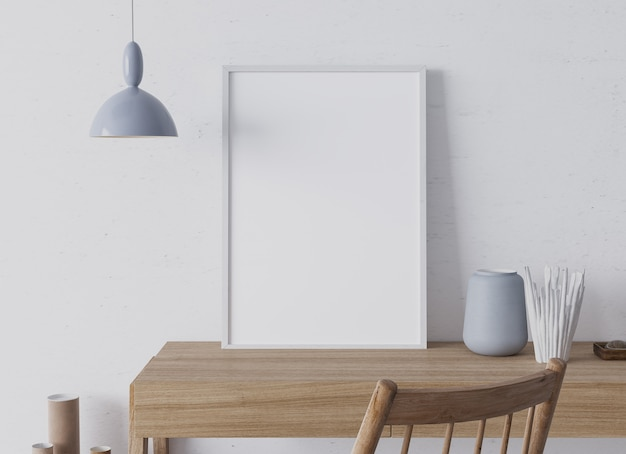 Bureau à domicile en bois avec cadre blanc