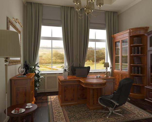 Bureau du directeur, siège social, visualisation intérieure, illustration 3d