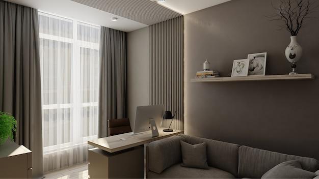Bureau intérieur de conception de rendu 3d