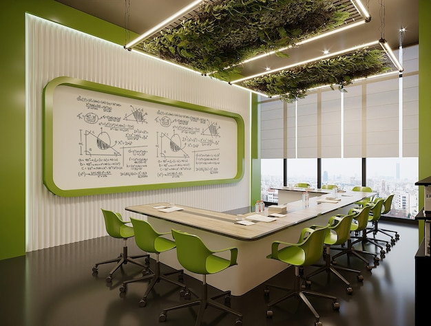Bureau moderne avec table et chaises vertes gratuit