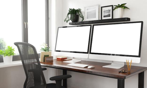 Bureau noir et blanc avec deux écrans vierges