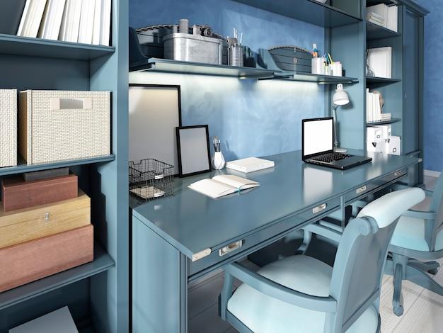 Un bureau pour deux sièges dans une pépinière moderne. rangements et étagères avec déco et livres. rendu 3d.