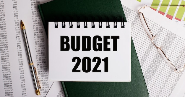Sur le bureau, des rapports, des lunettes, un stylo, un journal vert et un cahier blanc avec les mots budget 2021. gros plan sur le lieu de travail. concept d'entreprise