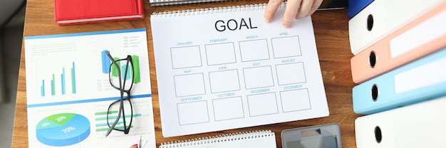 Sur le bureau se trouve un graphique avec des objectifs commerciaux