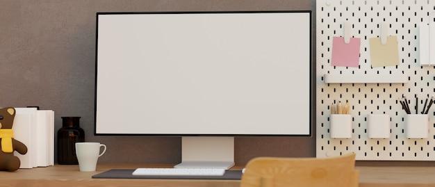 Bureau de travail à domicile pour adolescents maquette d'un écran blanc d'ordinateur moderne sur une table avec des décorations