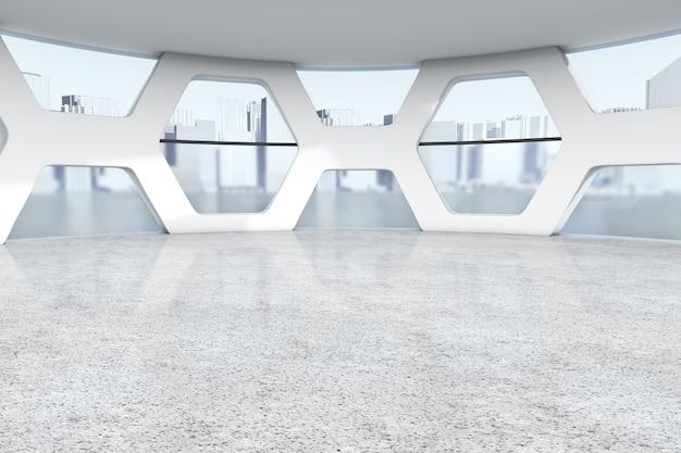 Bureau vide lumineux abstrait intérieur gros plan extrême. rendu 3d