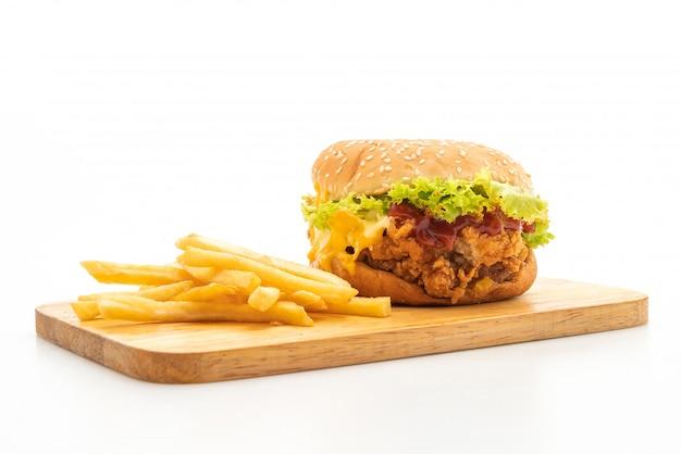 Burger au poulet frit isolé sur fond blanc