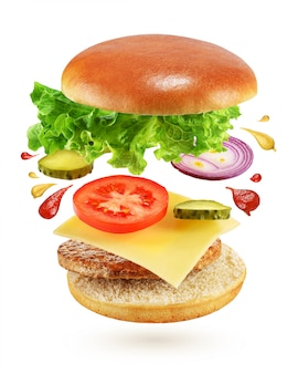 Burger avec des ingrédients volants