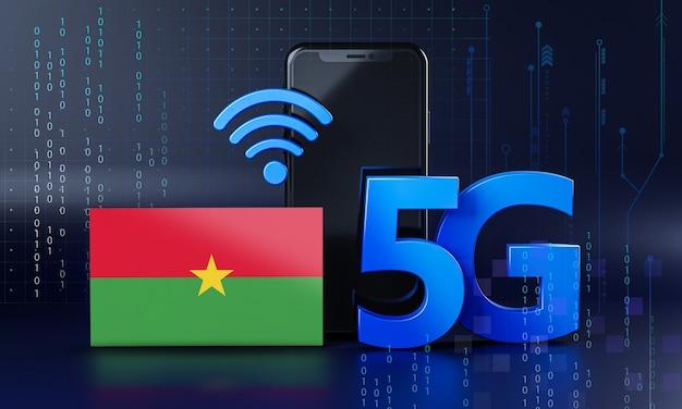 Le burkina faso est prêt pour le concept de connexion 5g. fond de technologie smartphone de rendu 3d