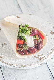 Burrito à la viande et au guacamole