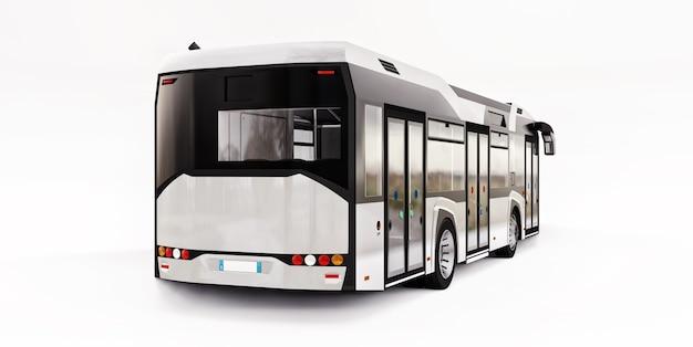 Bus blanc urbain mediun sur fond blanc isolé. rendu 3d.
