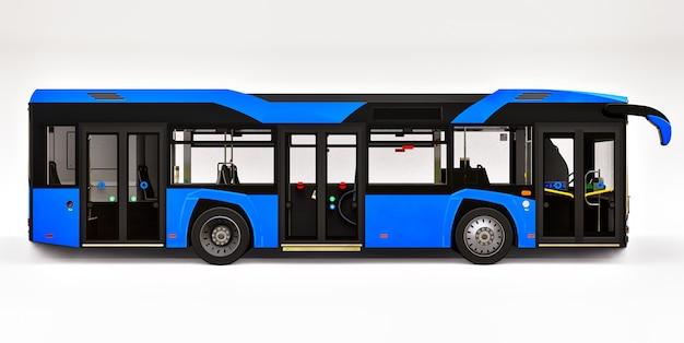 Bus bleu urbain mediun sur un espace isolé blanc. rendu 3d.