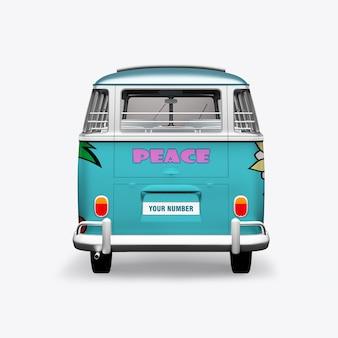 Bus hippie rendu 3d sur blanc