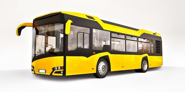 Bus jaune urbain mediun sur une surface blanche
