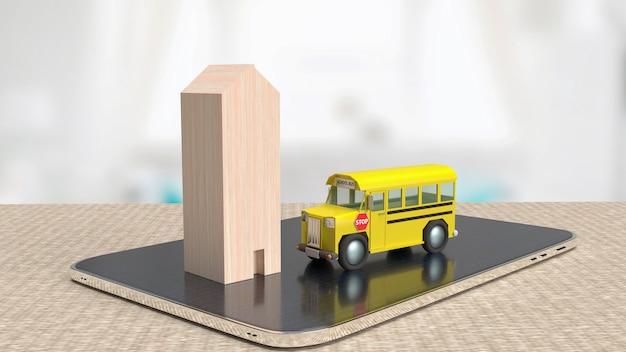 Le bus scolaire et la maison en bois sur tablette pour le rendu 3d du concept d'éducation