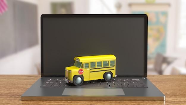 Le bus scolaire sur ordinateur portable pour le rendu 3d du concept d'apprentissage électronique